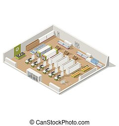 Grocery supermarket in a section inside an isometric icon set