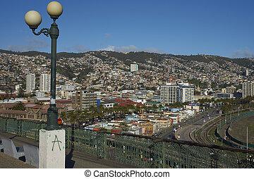 Valparaiso from Mirador Baron - View across the UNESCO World...
