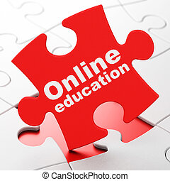 Studying concept: Online Education on puzzle background
