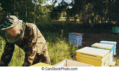 Young beekeeper man open wooden beehive for checking while working in apiary
