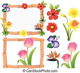 Frame template with different types of flowers