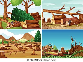 Deforestation scenes with chopped woods illustration