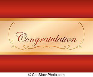 Congratulation card template with red background...