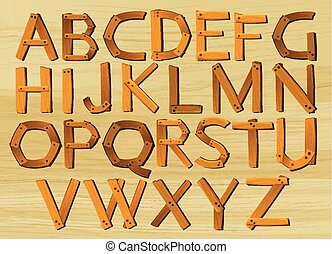 Alphabet characters from A to Z in wooden pattern