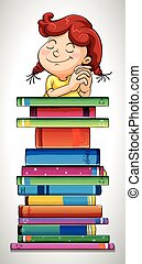 Girl and stack of books