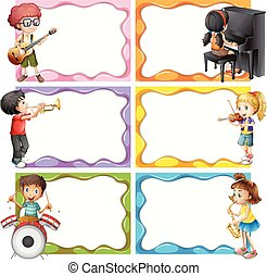 Frame template with kids playing musical instruments