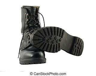 A pair of Black Britsh Army Issue Combat Boots - Two black...