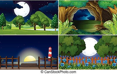 Four scenes at night time illustration