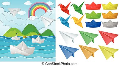 Ocean scne and paper origami in different objects...