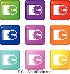 DVD drive open icons 9 set - DVD drive open icons of 9 color...