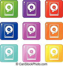 HDD icons 9 set - HDD icons of 9 color set isolated vector...