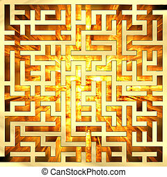Golden labyrinth with flame. High resolution 3D image