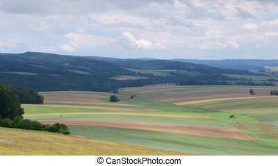 Pan view of European landscape in the summer time