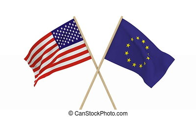 flags USA and EU. Isolated 3D render