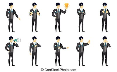 Vector set of illustrations with groom character. - Asian...