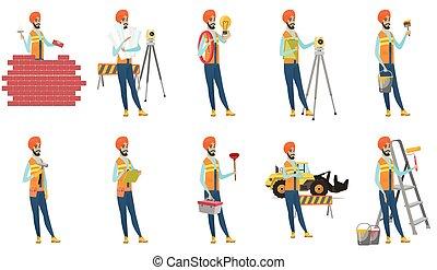 Indian builder vector illustrations set.