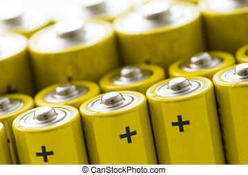 Yellow alkaline batteries - Group of yellow alkaline...