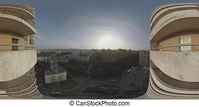 360 VR Aerial panorama of Moscow at sunset, Russia - 360 VR...