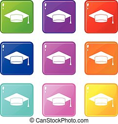 Cap student icons 9 set