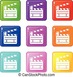 Clapperboard icons 9 set