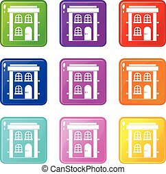 Two-storey residential house icons 9 set