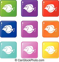 Tang fish, Zebrasoma flavescens icons 9 set - Tang fish,...