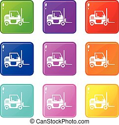 Forklift icons 9 set