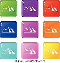 Mountains icons 9 set
