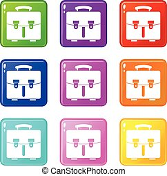 Diplomat bag icons 9 set - Diplomat bag icons of 9 color set...