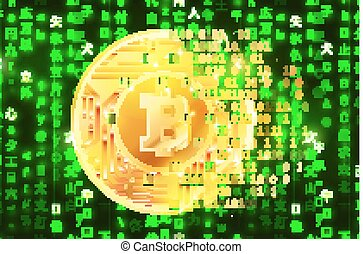 Creation of bright golden coin with microchip pattern and...