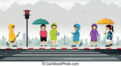 Schoolboy wearing raincoat - Schoolboy wears a raincoat and...