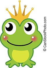 cute green  frog prince character