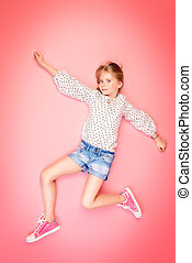 have fun every day - Happy childhood. Cute eight year old...