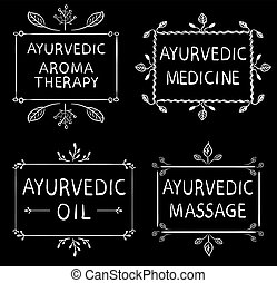 AYURVEDIC AROMETHERAPY, MEDICINE, OIL, MASSAGE. Set of typographyc VECTOR elements, hand drawn letters. Chalk lines on blackboard
