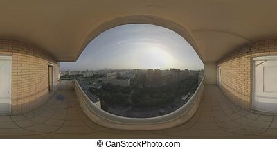 360 VR Moscow cityscape at sunset, view from the balcony of...