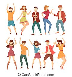 Set of isolated dancing men and women