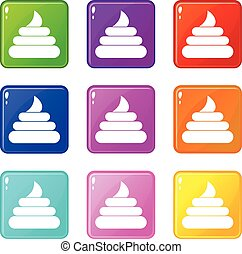 Turd icons 9 set - Turd icons of 9 color set isolated vector...