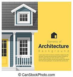 要素, 家, 建築, 背景, 小さい, 8