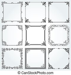 Decorative frames and borders square set 3 vector