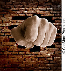 fist punching thru a brick wall, grunge color...