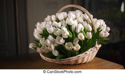 White tulips in a basket. In the background, average plan-2...