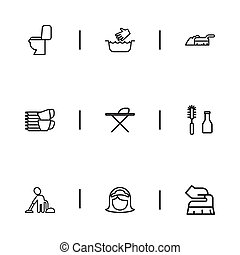 Set Of 9 Editable Cleaning Outline Icons. Includes Symbols Such As Maid, Sweeping, Metal Board And More. Can Be Used For Web, Mobile, UI And Infographic Design.