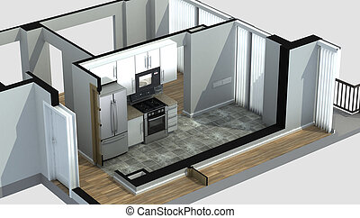 3D Rendering of an apartment kitchen - 3D Rendering of a...