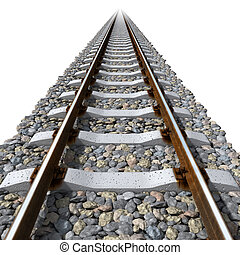 Rails lines on concrete sleepers - Straight-line railway...