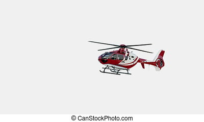 Medical Eurocopter soars in the air and flies away. Isolated...