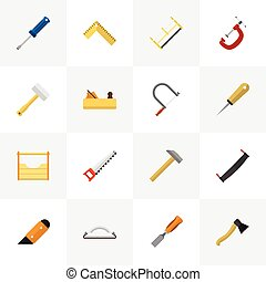 Set Of 16 Editable Equipment Flat Icons. Includes Symbols Such As Jointer, Knife, Emery Paper And More. Can Be Used For Web, Mobile, UI And Infographic Design.