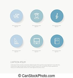 Set Of 6 Editable Teach Outline Icons. Includes Symbols Such As Classbook, Notebook, Treble Clef And More. Can Be Used For Web, Mobile, UI And Infographic Design.