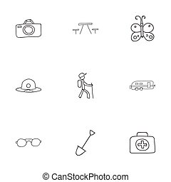 Set Of 9 Editable Camping Doodles. Includes Symbols Such As...
