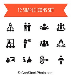 Set Of 12 Editable Cooperation Icons. Includes Symbols Such As Group, Agreement, Team And More. Can Be Used For Web, Mobile, UI And Infographic Design.