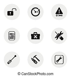 Set Of 9 Editable Tool Icons. Includes Symbols Such As...